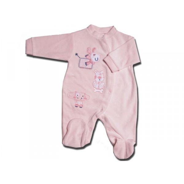 pyjama b b 0 3 mois rose chien. Black Bedroom Furniture Sets. Home Design Ideas