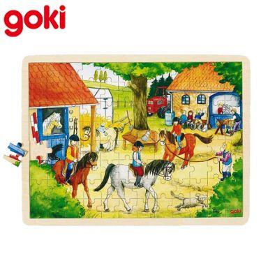 Puzzle bois, Ecurie chevaux