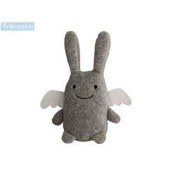 Jouet - Hochet bébé Ange lapin gris 12 cm
