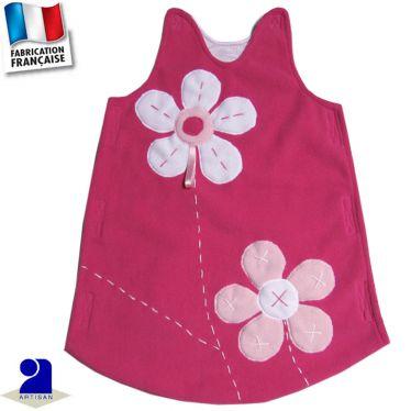 Gigoteuse 0-1 mois fleurs appliquées Made in France