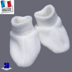Chaussons bébé blanc, polaire