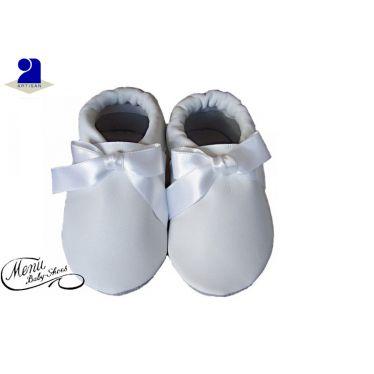 Chaussons bébé cuir blanc