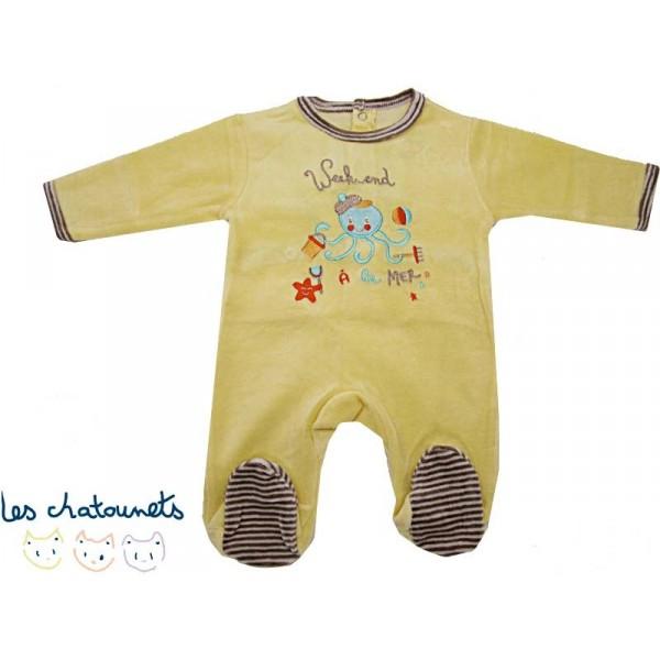 pyjama b b 3 mois jaune a la mer velours. Black Bedroom Furniture Sets. Home Design Ideas