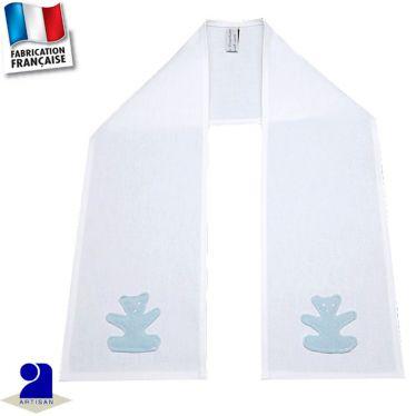 Etole de baptême blanche Ourson en bleu