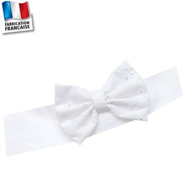 Bandeau cheveux+noeud broderie 0 mois-10 ans Made in France