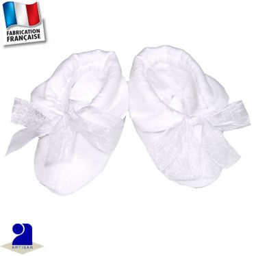 Chaussons avec noeud 0 mois-12 mois Made in France