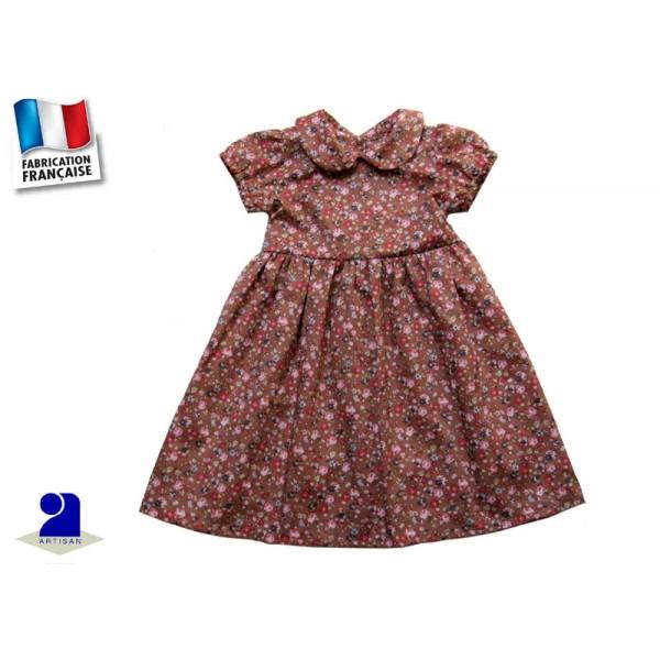 v tement enfant robe fleurie fillette 2 ans marron. Black Bedroom Furniture Sets. Home Design Ideas