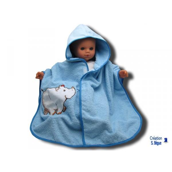 poncho de bain b b bleu hippopo 0 18 mois. Black Bedroom Furniture Sets. Home Design Ideas