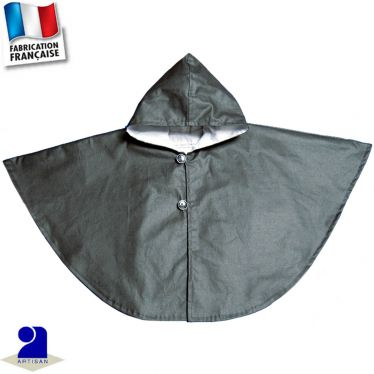 Cape de pluie doublée coton, capuche Made in France