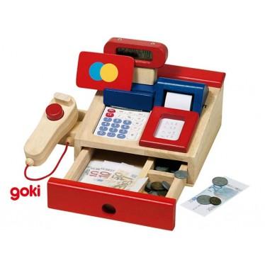Caisse pour épicerie en bois avec calculette