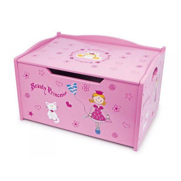 Coffre jouets princesse en bois - Coffre a jouet fille ...