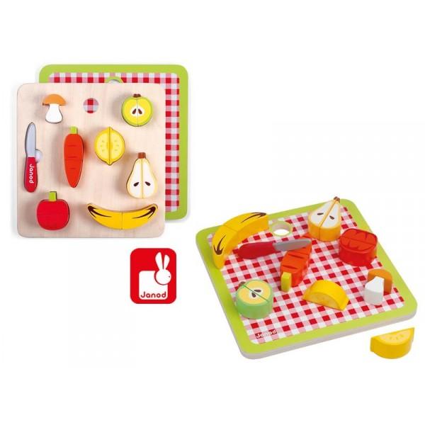 plateau chunky fruits et l gumes aimant s en bois. Black Bedroom Furniture Sets. Home Design Ideas
