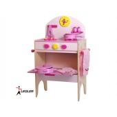 Cuisinière avec accessoires en bois, rose