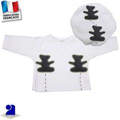 Gilet + béret oursons appliqués Made in France