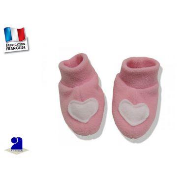 Chaussons bébé rose  polaire N-1 mois