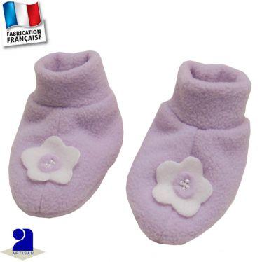 Chaussons-chaussettes fleur appliquée Made in France