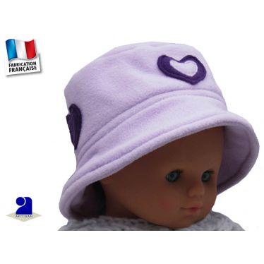 Chapeau polaire mauve fille 3-5 ans