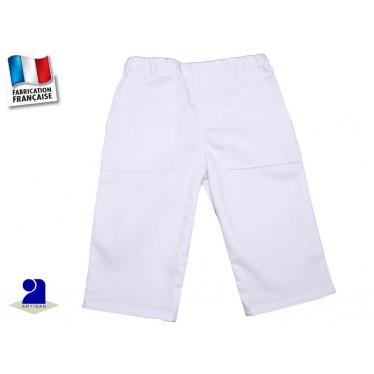 Vêtement bébé: Pantalon blanc garçon, coton du 1 mois au 2 ans