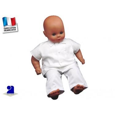 Tenue baptême garçon, pantalon et chemise coton blanc
