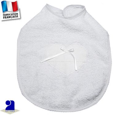 Bavoir bordé dentelle Made in France