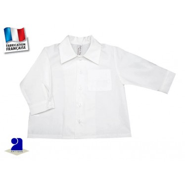 Vêtement bébé: Chemise blanche garçon, coton 3 mois au 18 mois