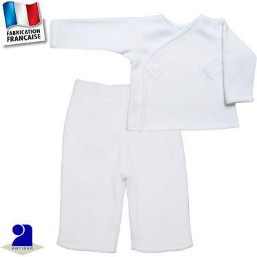 Pantalon+gilet chaud coeurs 0 mois-12 mois Made in France