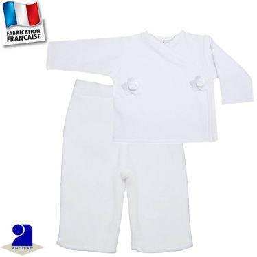 Pantalon+gilet chaud fleurs 0 mois-12 mois Made in France