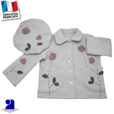 Veste et béret fleurs appliquées Made in France