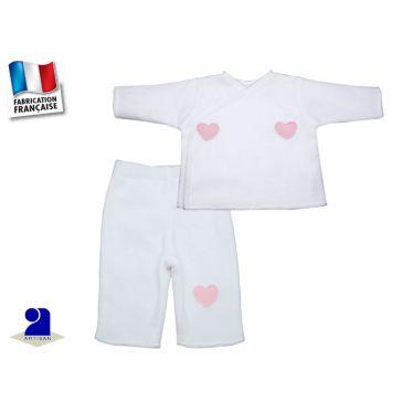 Pyjama bébé polaire blanc 0 au 12 mois