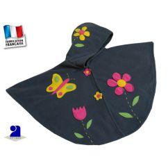 Vêtement bébé: Cape bébé grise fleurs 12-24 mois polaire