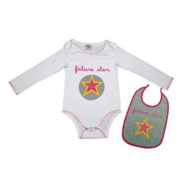 Body bavoir bébé Futur star blanc 1 mois