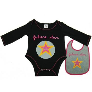 Body bavoir bébé Futur star noir 1 mois