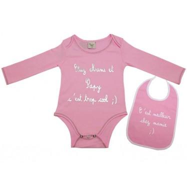 Body bavoir bébé Mamie-Papy rose 3 mois
