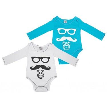 Body Moustache lot de 2 bleu et blanc 18 mois