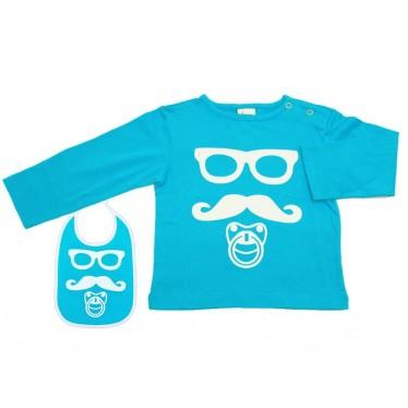 Tee-shirt bébé Moustache turquoise 6 mois et bavoir