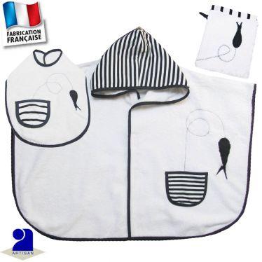 Poncho de bain marin + gant + bavoir Made in France