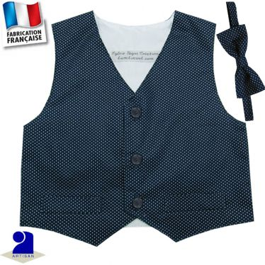 Gilet + noeud papillon 3 mois-10 ans Made in France