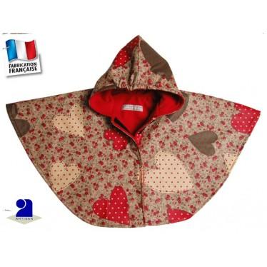 Cape de pluie enfant 12 24 mois doubl e polaire coeurs - Cape pluie enfant ...