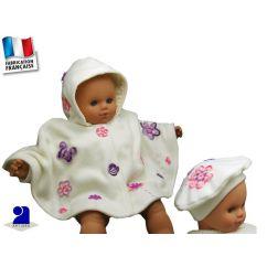 Vêtement bébé: Cape et béret polaire, fleurs, écru 0-12 mois
