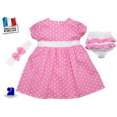 Robe fille 3 mois bloomer bandeau rose étoiles