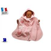 POncho de bain bébé rose coeurs