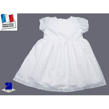 Robe broderie anglaise blanche fille