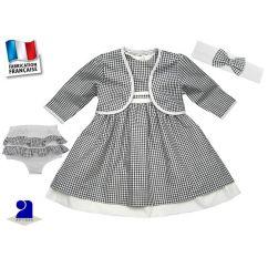 Vêtement bébé: Robe 18 mois, boléro, bloomer, bandeau vichy noir et blanc