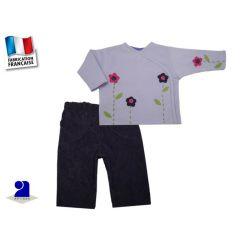Vêtement bébé: Ensemble fille velours et polaire mauve 6 mois