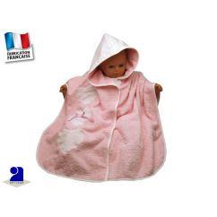 Poncho de bain bébé rose coeurs 0-2 ans