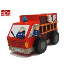 Tirelire enfant bois Camion de pompiers