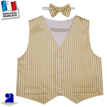 Gilet sans manches+noeud papillon Made in France
