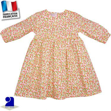 Robe manches longues, imprimé fleuri Made in France
