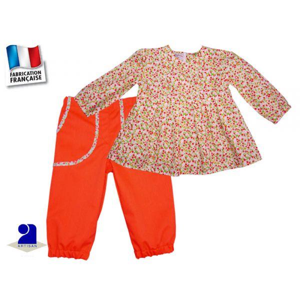 V tement b b ensemble fille 18 mois orange et liberty - Bureau bebe 18 mois ...