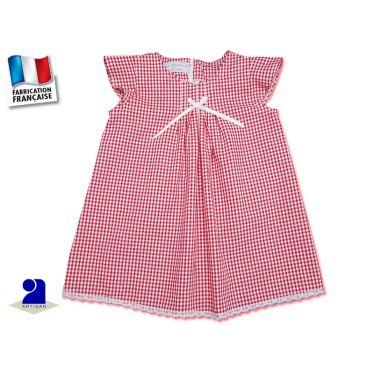Vêtement bébé: Robe fille 12 mois, Vichy rouge